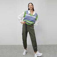 初语2020春装新款v领拼接撞色宽松衬衫叠穿假两件背心针织衫女