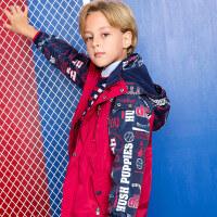 【4折到手价:212.04元】暇步士童装男童厚风衣新冬季新品2017中大童外套儿童连帽加绒上衣