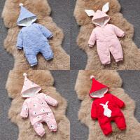 201805065558933女婴儿连体衣服秋冬季0岁3个月1宝宝冬装6新生儿套装加绒加厚棉衣