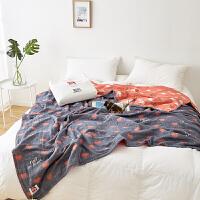 毛巾被纯棉单人双人纱布毛巾毯子全棉夏凉被儿童婴儿午睡毯空调被 深灰色 进口五层桃心