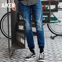 森马旗下Aiken牛仔裤男士2017潮流新款水洗弹力小脚直筒破洞青年长裤子