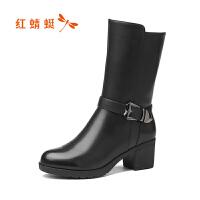 红蜻蜓秋冬季真皮靴子女高跟短靴粗跟马丁靴女靴棉鞋加绒