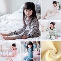 儿童家居服套装韩版秋冬纯棉保暖内衣加绒男女童宝宝睡衣两件套