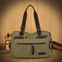 男包实用休闲大包包男士手提包帆布旅行包大号单肩斜挎包多口袋包 军绿色