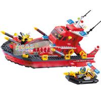 启蒙拼装积木玩具拼插小颗粒消防艇模型男孩益智玩具消防系列906 儿童礼物 拼装积木玩具 339块颗粒