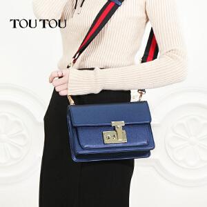 toutou2017新款韩版女包宽带港风斜挎包百搭锁扣小方包单肩包包潮