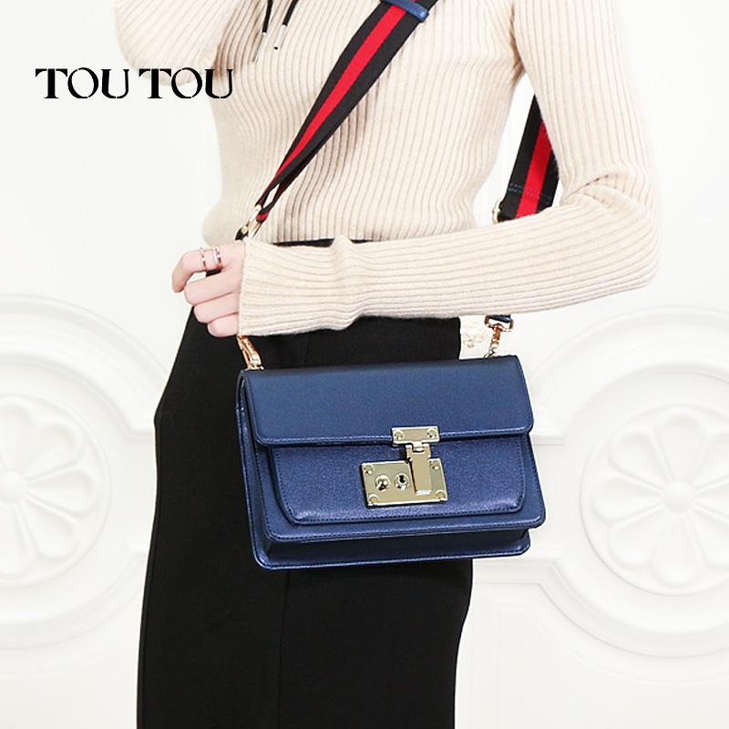 toutou2017新款韩版女包宽带港风斜挎包百搭锁扣小方包单肩包包潮时髦宽肩带 美出新高度