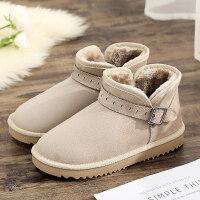 冬季搭扣雪地靴女短筒平底网红短靴加厚加绒棉鞋保暖绒面韩版靴子