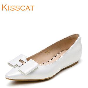 接吻猫蝴蝶结单鞋牛漆皮浅口尖头甜美百搭女鞋DA76307-10