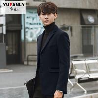 2018 新款冬季男士大衣韩版修身短款呢子外套反季加厚妮子风衣男装青年性感潮流