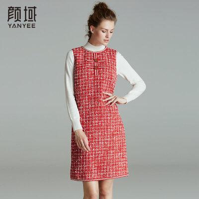 颜域品牌女装2017冬装新款优雅减龄圆领粗纺呢无袖连衣裙背心裙个性织带设计,时尚新颖