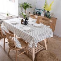 黑白格子桌布布艺棉麻小清新北欧茶几餐桌现代简约方格长方形