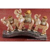 『定做』欧式富贵三象送金币树脂摆件|创意树脂商务礼品 图片色 BN822MS22*2.5*14.2