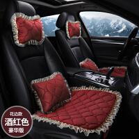 秋冬季汽车坐垫无靠背三件套单片防滑蕾丝毛绒男女保暖四季车座垫