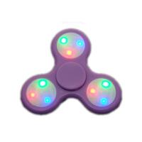 指尖陀螺手指螺旋儿童减压玩具发光带灯光夜荧光edc三叶旋转 27变3档按键紫色 高速静音