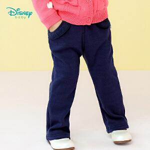 【卷后139元3件】迪士尼Disney童装女童裤子新款素色不倒绒秋季打底长裤宝宝荷叶边保暖休闲喇叭裤183K804