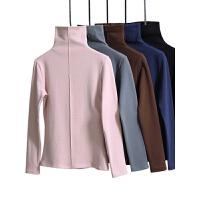 加绒加厚高领打底衫女秋冬修身内搭堆堆领大码长袖T恤上衣服 粉色 加绒