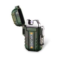 双电弧充电打火机 防水防风 户外便携点烟器 创意个性 带安全扣