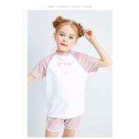 【3件2折价:69】笛莎童装泳衣2021夏季新款中大童儿童女宝宝洋气印花短袖分体泳衣