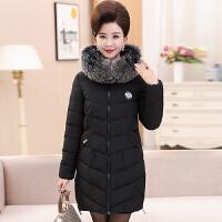 妈妈冬装棉衣40-50岁中老年人女装毛领羽绒外套中长款棉袄厚 XL 建议90-110斤