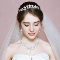 新娘皇冠头饰项链耳环三件套装发饰婚纱配饰结婚首饰品