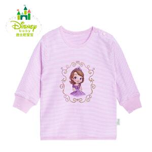 【3件4折】迪士尼Disney宝宝肩开扣无领上衣 男女童纯棉长袖上衣153S686