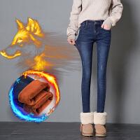 加绒牛仔裤女修身小脚裤韩版女式铅笔裤加厚牛仔裤女显瘦长裤
