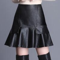 小皮裙女秋冬2018新款PU皮短裙包臀鱼尾裙高腰大码a字半身裙伞裙