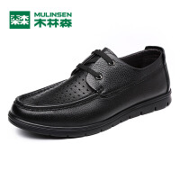 木林森男鞋 男士头层牛皮透气舒适皮鞋男士冲孔鞋 05177348