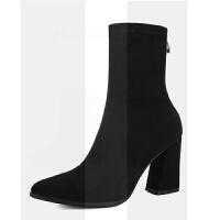 2018新款秋款冬季百搭粗跟短靴中筒靴子女半桶弹力高跟绒布袜子靴SN9012 黑色 单里