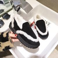 2018冬季新款短筒雪地靴女韩版百搭平底短靴加绒保暖学生面包棉鞋