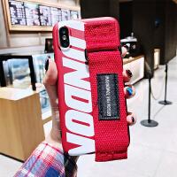 x手机壳8plus新款7p网红6splus保护套iPhone xs max李小冉7plus防摔硅 苹果 x【红色腕带】