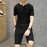 2018夏季新款亚麻短袖t恤套装男士大码棉麻半袖体恤衣服潮流男装