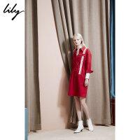 Lily春新款女装收腰条纹衬衫连衣裙118330C7613