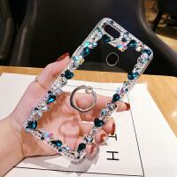 vivoY3手机壳边框水钻S1pro奢华保护套x27pro创意支架硅胶网红女 Y3 孔蓝边框+指环