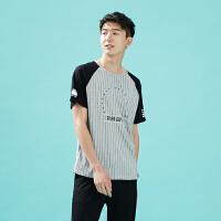 【1件2折到手价:23.8】美特斯邦威短袖T恤男士 年夏季新款插肩袖上衣7262商场同款