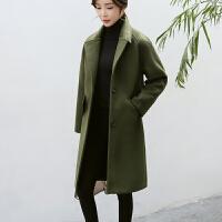 2018新款韩版中长款毛呢外套女冬季韩国冬装学生茧型呢子大衣