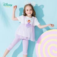 【3件3折到手价:64.5】迪士尼Disney童装 女童套装2019夏季新品蕾丝拼接上衣裤子两件套卡通印花