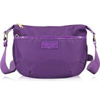 斜挎包女包帆布包日韩尼龙包休闲小包包牛津布运动包单肩包防水包 典雅紫色 包包可以洗水
