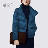 魅斑2019新款冬装Polo领羽绒服外套女中长款冬季羽绒服大衣面包服