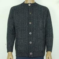 男牦牛绒羊毛衫双层加厚加肥加大中老年开衫保暖毛衣