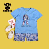 【8.20每满100减50】变形金刚童装男童夏装2018夏季新品短袖T恤+短裤套装