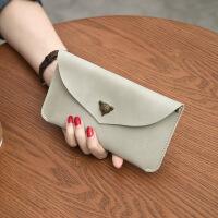 女士钱包女长款日韩版手包迷你零钱包欧美小手拿包学生手机包薄款 浅灰色