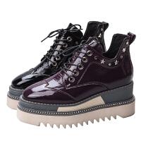 �W洲站2018秋冬新款短靴真皮方�^坡跟踝靴女系�Ш竦姿筛怦R丁靴子