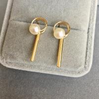 明星同款几何三角圆形耳环14k包金注金防过敏保色天然珍珠耳环