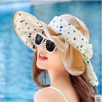 蝴蝶结海边帽大沿沙滩防晒太阳帽可折叠凉帽遮阳帽女士韩版防紫外线帽子