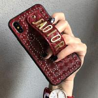 苹果X手机壳女xr腕带七iPhone7plus明星同款6s网红8xs新款max iphone X 酒红