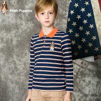 【3折价:77.7元】暇步士童装男童秋装新款中大童条纹Polo衫儿童翻领长袖T恤