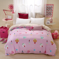 A棉B法莱绒法兰绒被套单件单人加厚保暖珊瑚绒被罩双人春秋季 粉红色 花淇琳粉