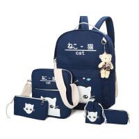 帆布双肩包可爱小猫咪印花书包中小学生新款大容量电脑包韩版卡通